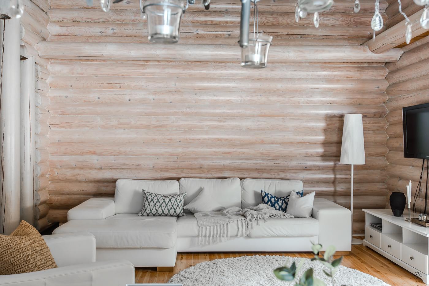 Canapé d'angle en cuir blanc