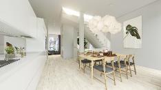 Havainnekuva asunnon D6 keittiöstä makuuhuoneeseen ja olohuoneeseen merellepäin.