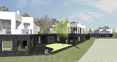 I- ja J-talojen nurkkaus, oikealla A-talo. Havainnekuva rantaraitilta