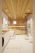 Havainnekuva, näkymä C4 asunnon saunaosastosta