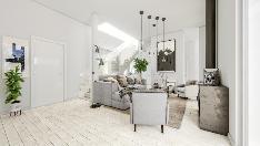 Havainnekuva asunnon D6 olohuoneesta keittiöön