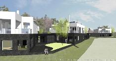 I- ja J-talojen nurkkaus, oikealla A-talo. Kuvattu rantaraitilta