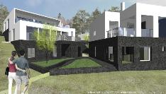G- ja H-talojen nurkkaus. Kuvattu rantaraitilta