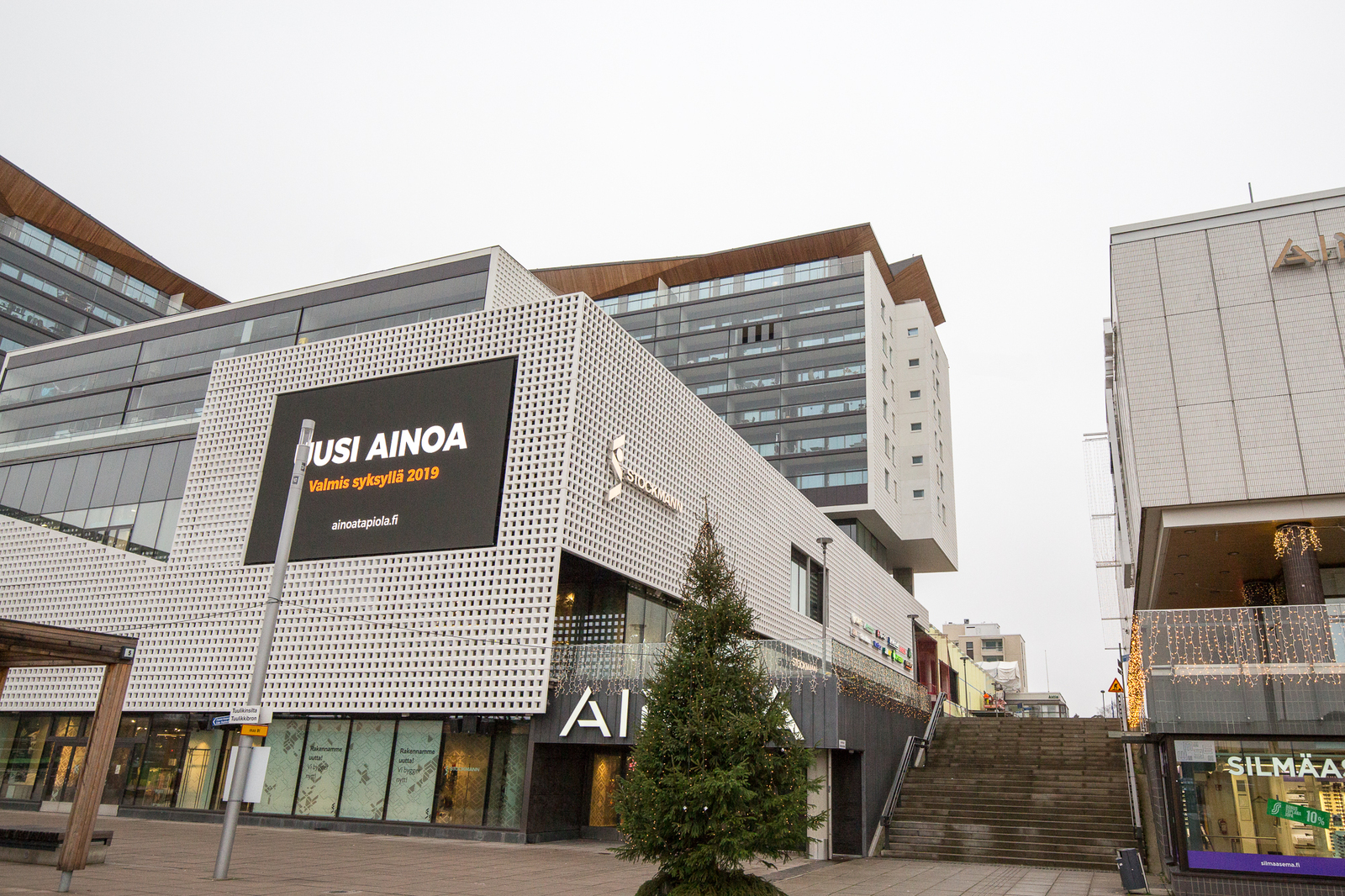 Kauppakeskus AINOA on Kirjokannen alakerrassa. title=