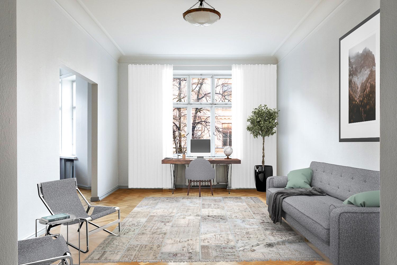 Huone soveltuu hyvin myös työ-tai vierashuoneeksi, kuten virtuaalistailatussa kuvassa. title=