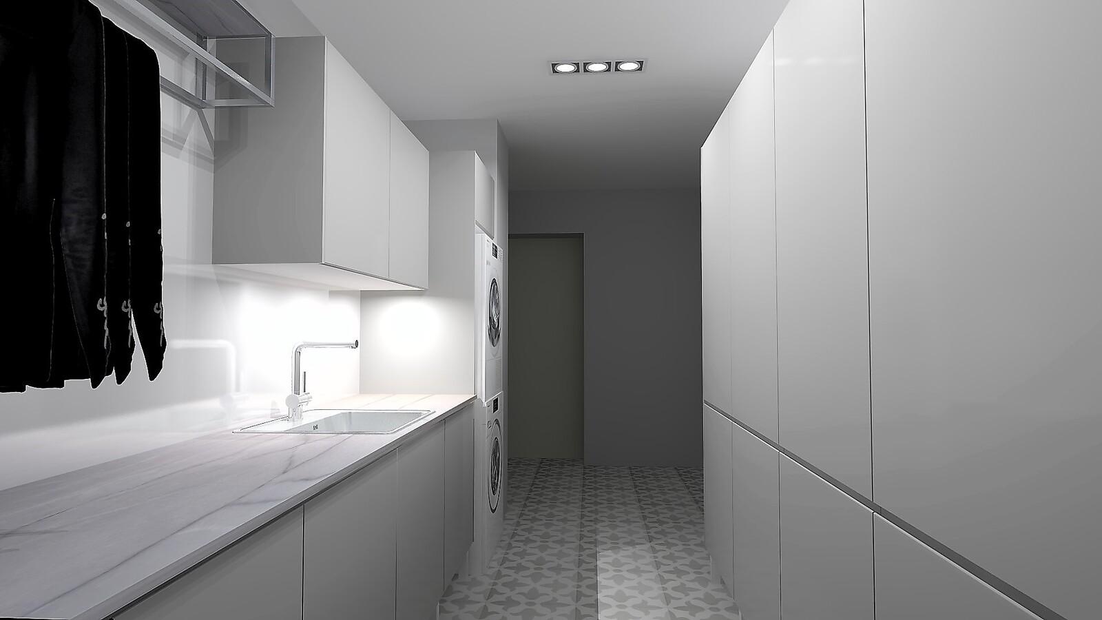 Käytännöllisessä kodinhoitohuoneessa on loistavat tilat pyykkihuoltoon. title=