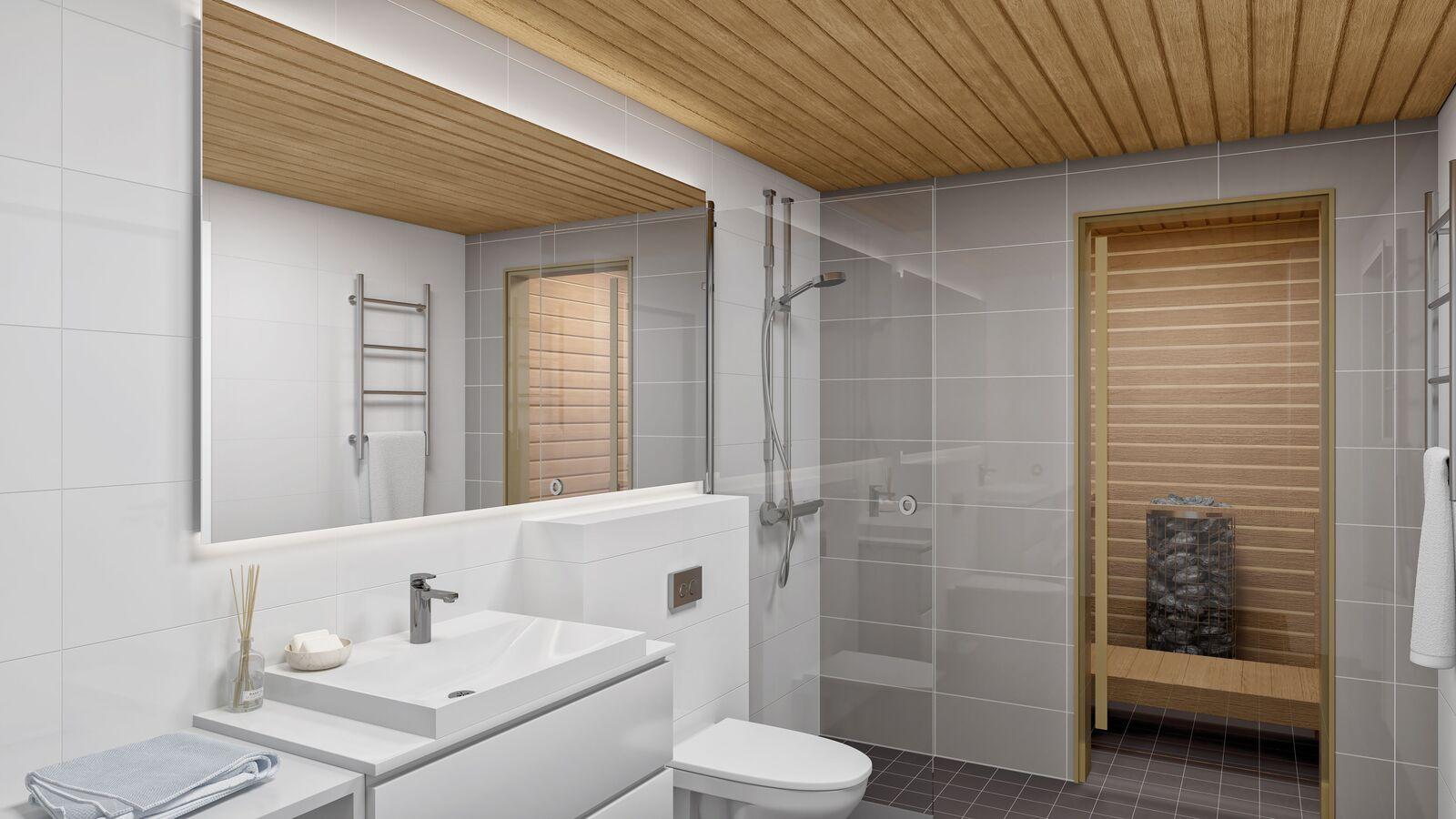 Havainnekuva. Kylpyhuone + sauna title=