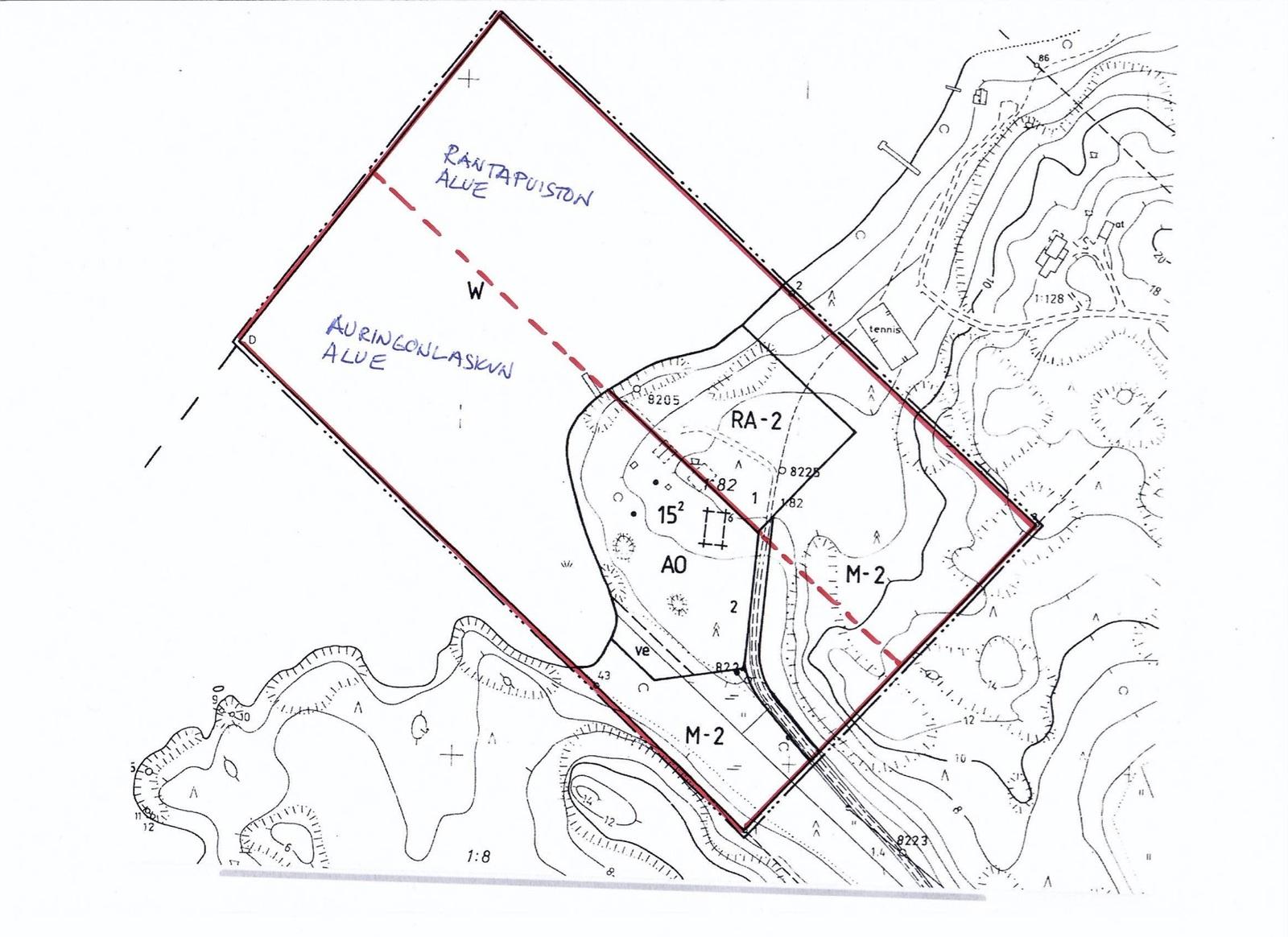 Rantapuisto- ja Auringonlasku-alueiden kartta title=