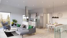 Virtuaalikuva olohuoneesta ja keittiöstä