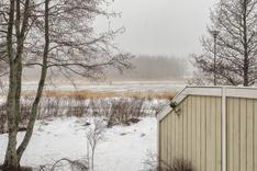Pihanäkymä talvella Soukanlahdelle