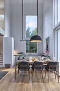Keittiö/olohuonetila on osin korkeaa tilaa.