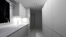 Käytännöllisessä kodinhoitohuoneessa on loistavat tilat pyykkihuoltoon.