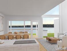 Virtuaalinen stailauskuva 1. kerroksen ruokailutilasta/olohuoneesta.