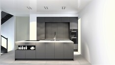 Poggenpohlin keittiö on graafisen tyylikäs. Ostaja voi valita keittiönsä monista vaihtoehdoista.