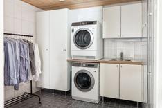 Kodinhoitohuoneessa on tilaa pyykkihuollolle.