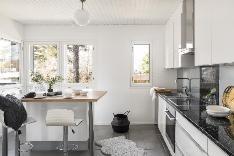 Keittiöön tulvii valoa kahdesta eri ilmansuunnasta.